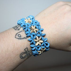 Vintage blue wooden flower bracelet